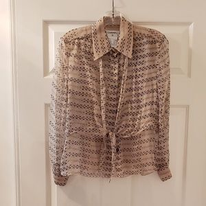 Vintage Chanel sheer logo blouse